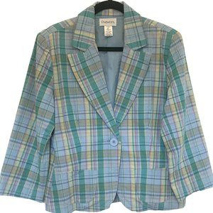 NEW Chadwick's Cotton Blue Plaid Fitted Blazer 12
